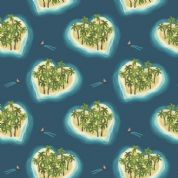 Lewis & Irene Island Girl - 5300 - Tropical Islands on Deep Blue - A190.3 - Cotton Fabric